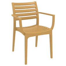 Artemis Resin Outdoor Stackable Dining Arm Chair- Teak Brown