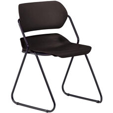 Martisa Armless Plastic Stack Chair - Black Seat with Black Frame