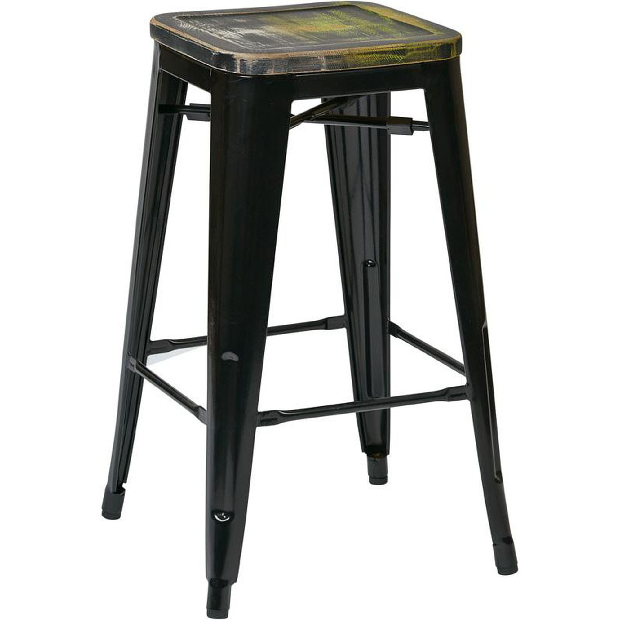Osp Designs Bristow 26 Metal Barstool With Wood Seat