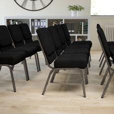 HERCULES Series 21''W Stacking Church Chair in Black Fabric - Silver Vein Frame