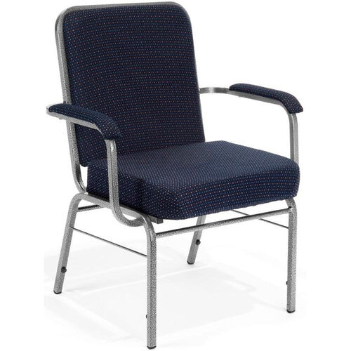 Our Comfort Class Big & Tall 500 lb. Capacity Arm Stack Chair - Pinpoint Navy Fabric is on sale now.