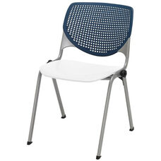 2300 KOOL Series Stacking Poly Armless Chair with Navy Perforated Back and White Seat