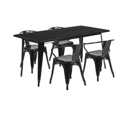"""Commercial Grade 31.5"""" x 63"""" Rectangular Black Metal Indoor-Outdoor Table Set with 4 Arm Chairs"""