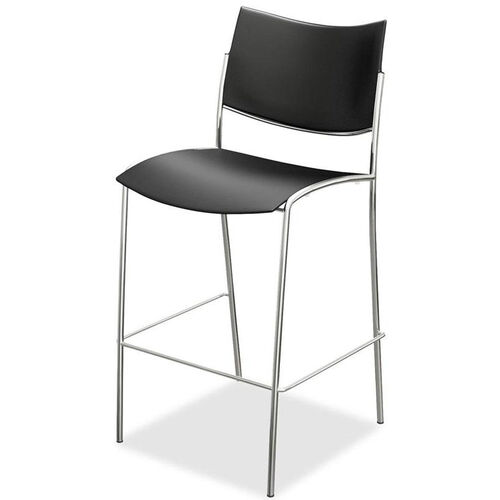 Mayline Group Escalate Stacking Armless Barstool with Black Plastic Back and Seat - Set of 2