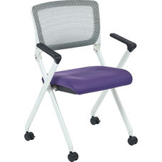 Space Pulsar Folding Chair with Breathable Mesh Back and Mesh Fabric Seat - Set of 2 - Purple