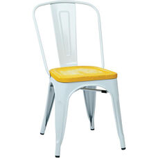 OSP Designs Bristow Metal Chair with Wood Seat - 4-Pack - White and Vintage Ash Yellowstone