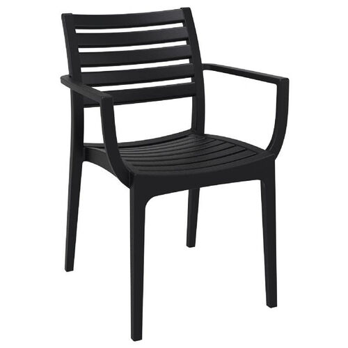Our Artemis Resin Outdoor Stackable Dining Arm Chair - Black is on sale now.