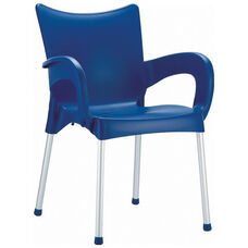 Romeo Outdoor Resin Stackable Dining Arm Chair with Aluminum Legs - Dark Blue