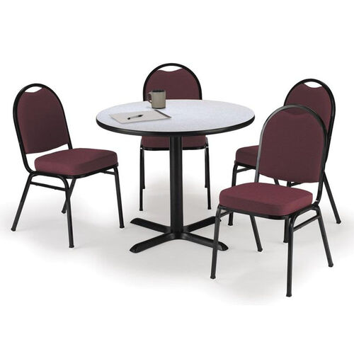 Round Laminate Table Set with X-Base and Burgundy Fabric Upholstered Stack Chairs - Seats 4