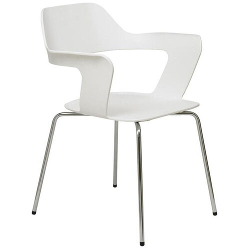 Our Julep Series Stacking Arm Chair with Flex Poly Shell and Silver Frame - White is on sale now.