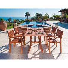 Malibu 5 Piece Outdoor Wood Dining Set with Curvy Leg Table and 4 Stacking Armchairs
