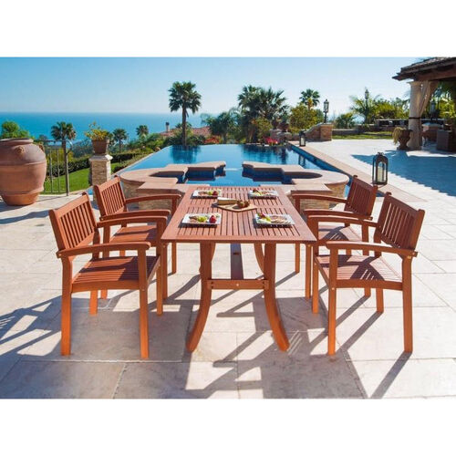 Our Malibu 5 Piece Outdoor Wood Dining Set with Curvy Leg Table and 4 Stacking Armchairs is on sale now.