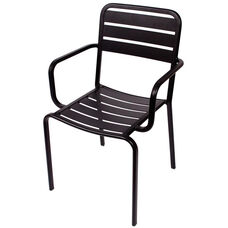 Vista Stackable Outdoor Aluminum Arm Chair - Black