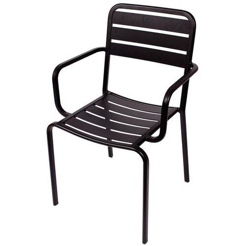 Vista Stackable Outdoor Aluminum Arm Chair - Black