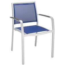 South Beach Collection Stackable Aluminum Outdoor Arm Chair with Textile Back and Seat - Blue