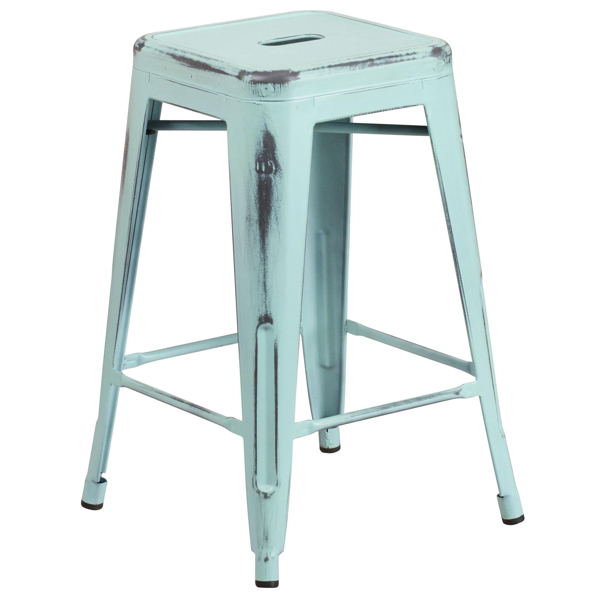 Magnificent Commercial Grade 24 High Backless Distressed Green Blue Metal Indoor Outdoor Counter Height Stool Inzonedesignstudio Interior Chair Design Inzonedesignstudiocom