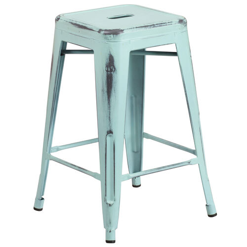 """Our Commercial Grade 24"""" High Backless Distressed Green-Blue Metal Indoor-Outdoor Counter Height Stool is on sale now."""