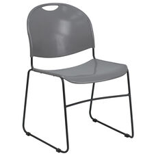 HERCULES Series 880 lb. Capacity Gray Ultra-Compact Stack Chair with Black Frame