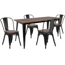"30.25"" x 60"" Black Metal Table Set with Wood Top and 4 Stack Chairs"