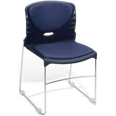 300 lb. Capacity Stack Chair with Anti-Microbial and Anti-Bacterial Vinyl Seat and Back - Navy