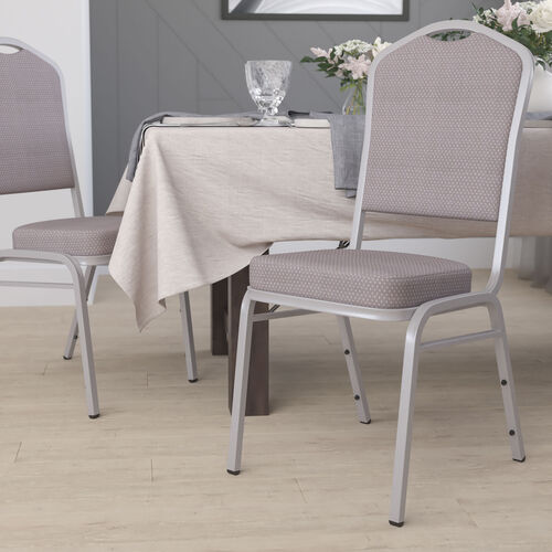 HERCULES Series Crown Back Stacking Banquet Chair in Gray Dot Fabric - Silver Frame