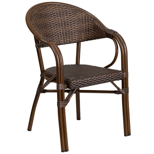 Our Milano Series Cocoa Rattan Restaurant Patio Chair with Bamboo-Aluminum Frame is on sale now.