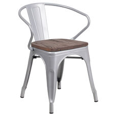 Silver Metal Chair with Wood Seat and Arms