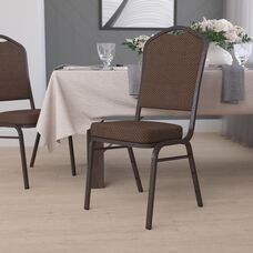 HERCULES Series Crown Back Stacking Banquet Chair in Brown Patterned Fabric - Copper Vein Frame