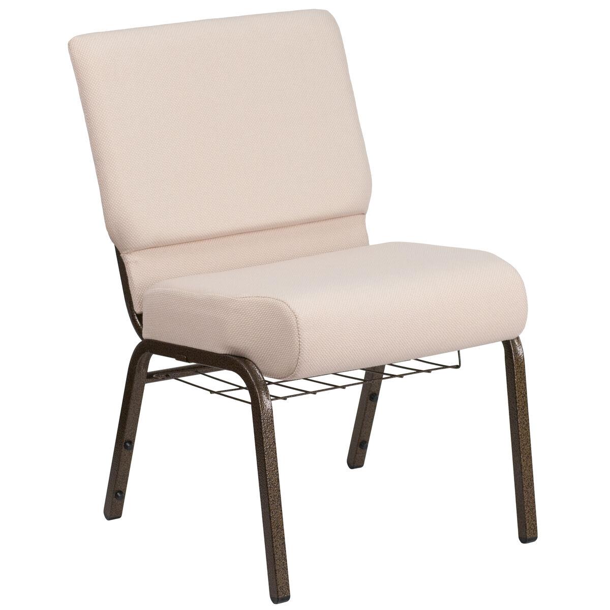 For Less Furniture: Beige Fabric Church Chair FD-CH0221-4-GV-B2-BAS-GG
