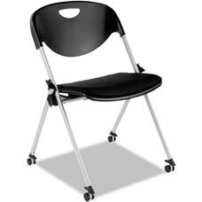 Alera Plus™ SL Series Mobile Nesting Stacking Chair - Set of Two - Black