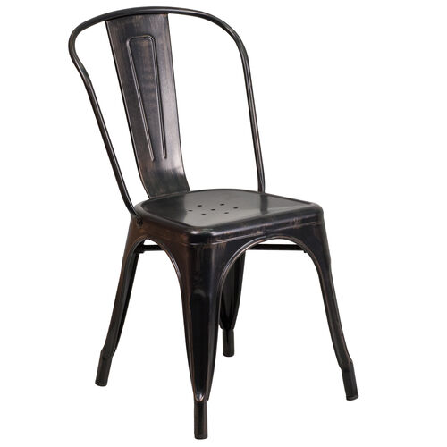 Our Commercial Grade Black-Antique Gold Metal Indoor-Outdoor Stackable Chair is on sale now.