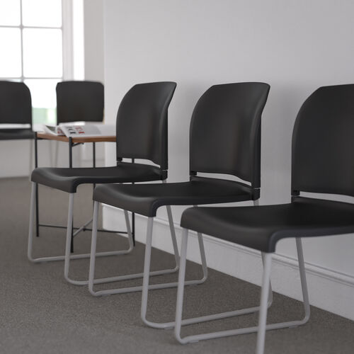 HERCULES Series 880 lb. Capacity Black Full Back Contoured Stack Chair with Gray Powder Coated Sled Base