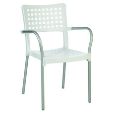 Gala Outdoor Resin Stackable Dining Arm Chair with Aluminum Arms and Legs - White