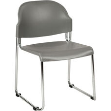 Work Smart Stack Chair with Plastic Seat and Back - Set of 2 - Grey