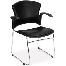 Multi-Use Stack Chair with Anti-Microbial and Anti-Bacterial Vinyl Seat and Back with Arms - Black