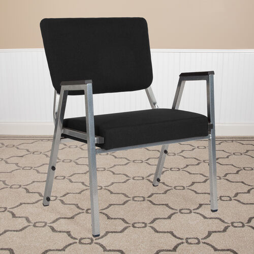 Our HERCULES Series 1500 lb. Rated Black Antimicrobial Fabric Bariatric Antimicrobial Medical Reception Arm Chair with 3/4 Panel Back is on sale now.