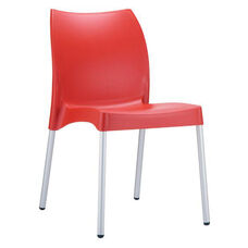 Domenica Lightweight Stackable Side Chair with Aluminum Legs - Red