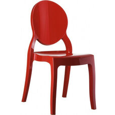 Elizabeth Polycarbonate Stackable Dining Chair with Oval Back - Glossy Red