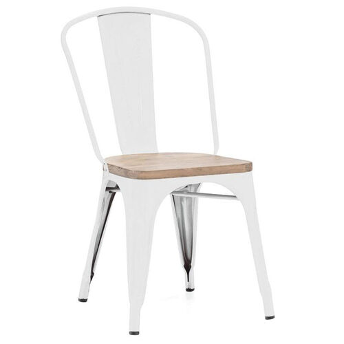 Our Dreux Glossy White Stackable Side Chair with Light Elm Wood Seat - Set of 4 is on sale now.
