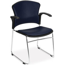 Multi-Use Stack Chair with Anti-Microbial and Anti-Bacterial Vinyl Seat and Back with Arms - Navy