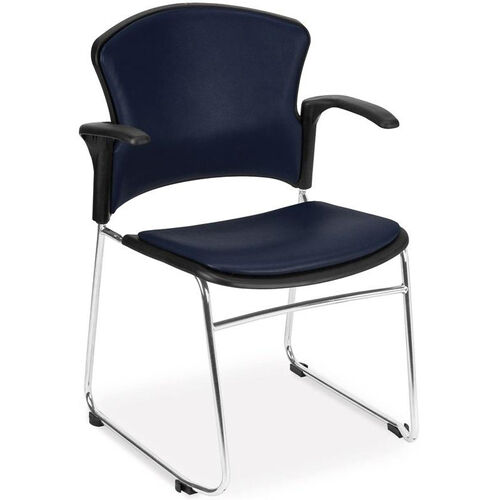 Our Multi-Use Stack Chair with Anti-Microbial and Anti-Bacterial Vinyl Seat and Back with Arms - Navy is on sale now.