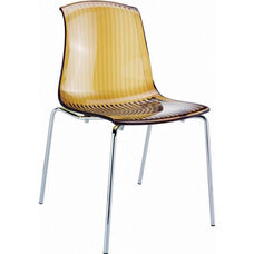 Allegra Polycarbonate Indoor Dining Chair - Transparent Amber