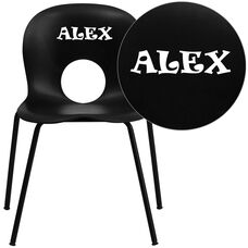 Personalized HERCULES Series 770 lb. Capacity Designer Black Plastic Stack Chair with Black Frame
