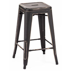 Dreux Vintage Matte Black - Gold Steel Stackable Counter Stool - Set of 4