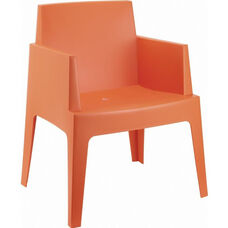 Box Resin Outdoor Stackable Dining Arm Chair - Orange