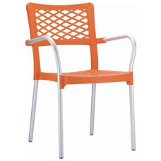 Bella Resin Stackable Dining Arm Chair with Aluminum Frame - Orange