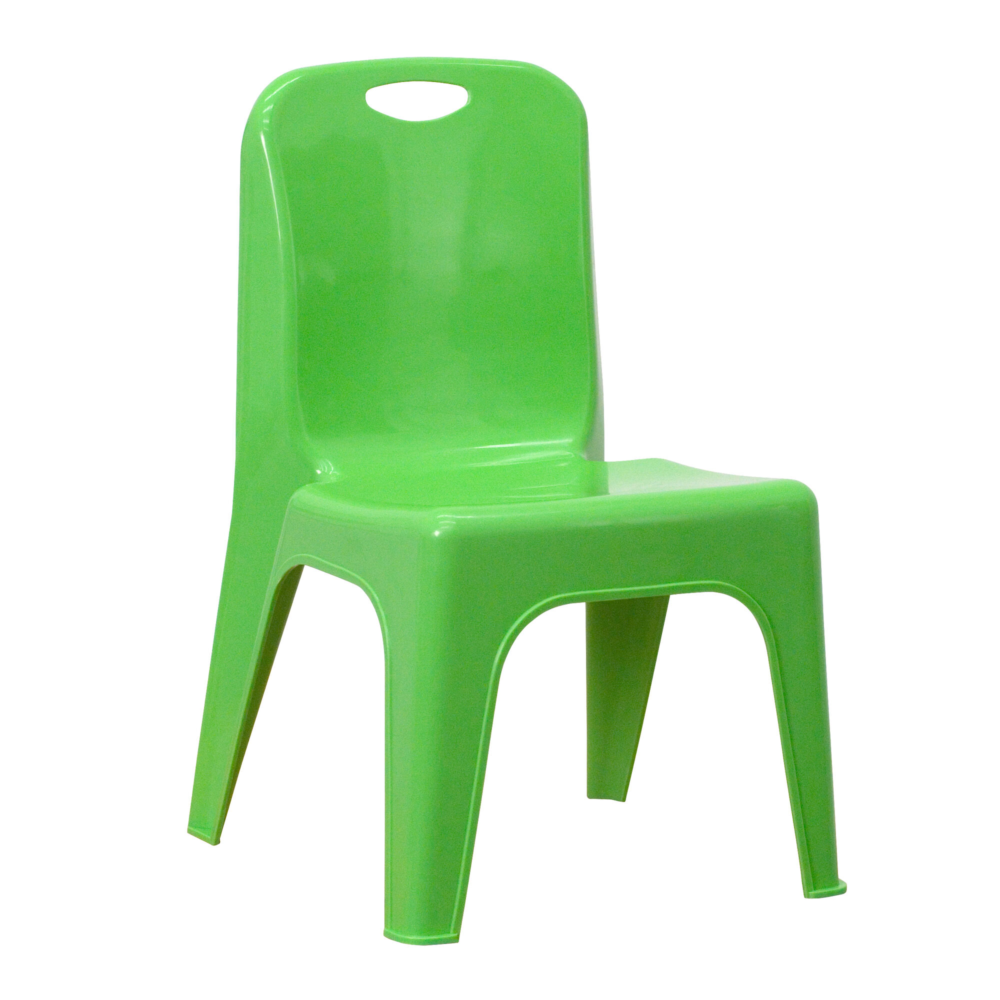 Green Plastic Stackable School Chair with Carrying Handle and 11\'\' Seat  Height