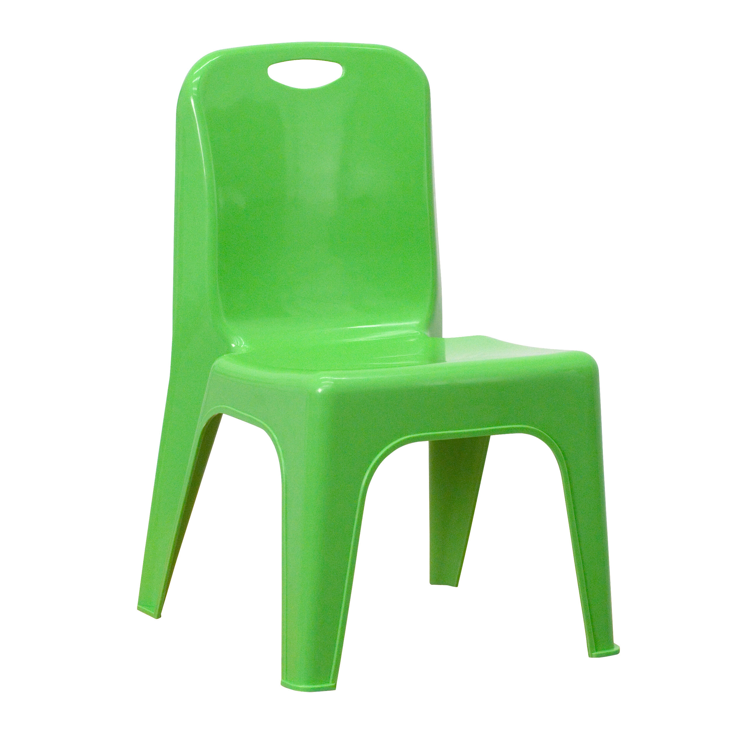 Beau Green Plastic Stackable School Chair With Carrying Handle And 11