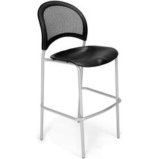 Moon Cafe Height Chair with Plastic Seat and Silver Frame - Black