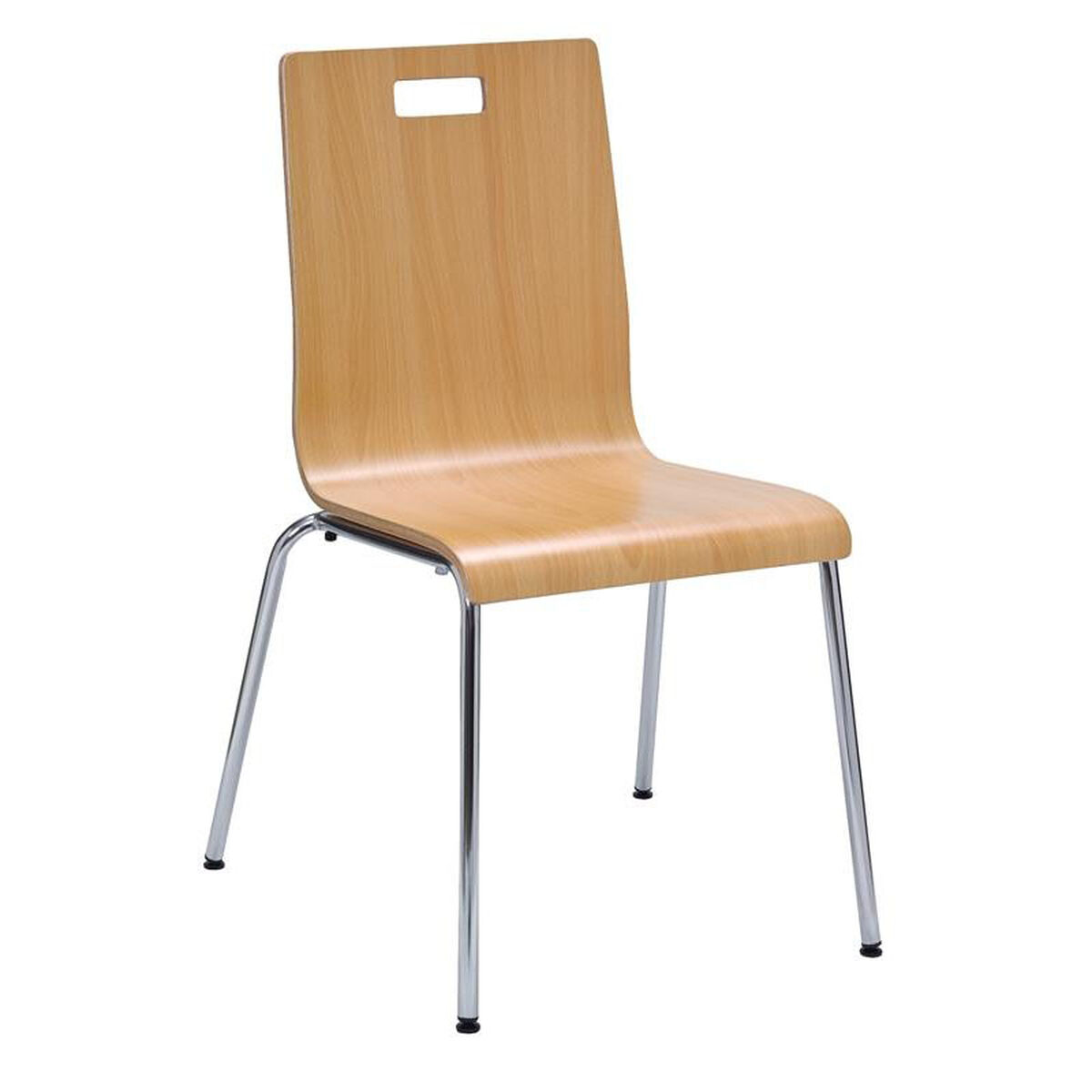 Our Jive Series Stacking Bentwood Armless Cafe Chair With Hpl Surface And Silver Steel Frame